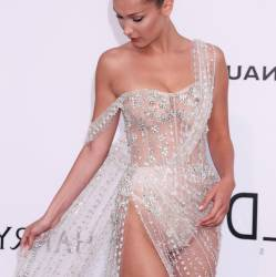 Bella Hadid braless in see through dress on amfAR's 24th Cinema Against AIDS Gala in Cannes 32x UHQ photos