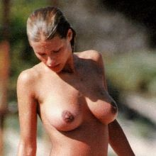 Michelle Hunziker nude on the beach UHQ