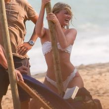 Elsa Hosk pole dancing in white bikini at the beach in Brazil 2016 January 107x HQ photos