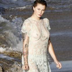 Ireland Baldwin topless boobs pop out see through on the beach in Malibu 66x HQ photos