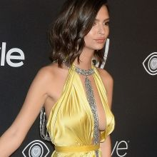 Emily Ratajkowski braless cleavage upskirt boobs trying to pop out on 74th Annual Golden Globe Awards 90x HQ photos