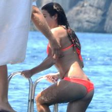 Lea Michele nipslip wearing hot bikini on a boat in Italy 27x MixQ