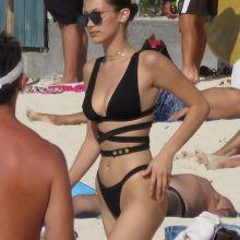 Bella Hadid sexy bikini candids on the beach in St. Barts 17x MixQ photos