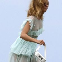 Suki Waterhouse braless in see through dress on a photo shoot for Pop & Suki in Malibu 21x MixQ photos