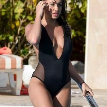 Ashleigh Defty sexy swimsuit candids on the pool in Tenerife 8x UHQ photos