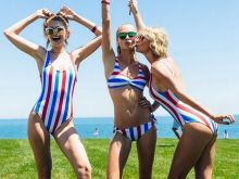 Taylor Swift, Karlie Kloss, Gigi Hadid, Cara Delevingne sexy Stars & Stripes swimwear HQ Instagram photos