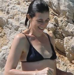 Charlotte Gainsbourg nip slip boobs pop out from bikini in the pool in Cannes 27x HQ photos