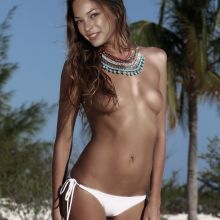 Kristin Kreuk topless on the beach in Miami UHQ