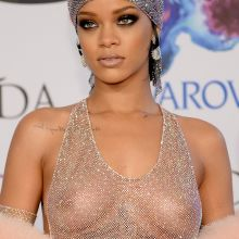 Rihanna see through dress no bra 2014 CFDA Fashion Awards in NY 36x UHQ