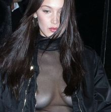 Bella Hadid braless in see through dress at Kinugawa Restaurant 58x HQ photos