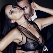 Adriana Lima see through lingerie photo shoot for Elle US magazine 2015 October 3x HQ