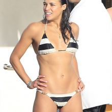 Michelle Rodriguez wearing sexy bikini on a yacht in Ibiza 24x HQ