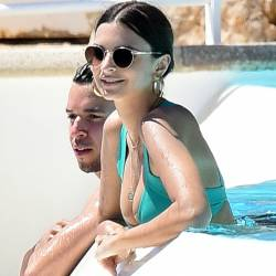 Emily Ratajkowski cameltoe boobs trying to pop out bends over in sexy bikini candids in ans around Pool Eden Roc in Cannes 123x HQ photos