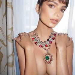 Emily Ratajkowski topless before  Opening Ceremony of 70th Cannes Film Festival 2x HQ photos