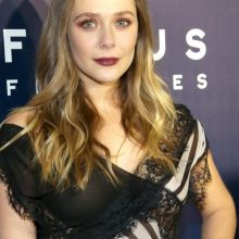 Elizabeth Olsen braless pokies in see through dress on Golden Globes after party 14x UHQ photos