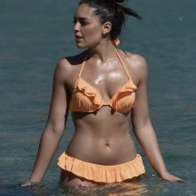 Olympia Valance sexy bikini candids on the beach in Mykonos bends over bare butt booty MixQ photos