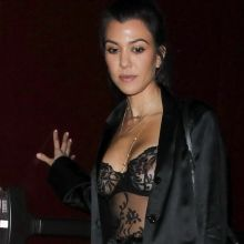 Kourtney Kardashian show boobs in see through bra at The Peppermint Club 10x HQ photos