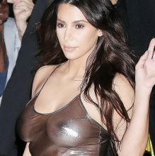 Kim Kardashian braless in see through dress pokies nipple visible on Madison Square Garden goes to Kanye West's New York City concert 8x UHQ photos
