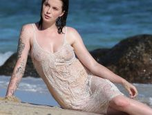 Ireland Baldwin braless in wet see through dress candids on the beach in Hawaii 77x UHQ photos
