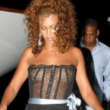 Beyonce see through black top in St Tropez 12x MixQ