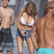 Charlotte Mckinney big boobs in sexy bikini top on the beach in Malibu 55x HQ photos