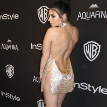 Charli XCX in transparent dress without lingerie InStyle And Warner Bros Golden Globe Awards Post-Party 7x UHQ photos