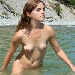 Emma Watson nude swimming at the beach private photo UHQ