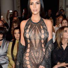 Kim Kardashian pantyless in see through dress on Balmain show as part of the Paris Fashion Week HQ photos