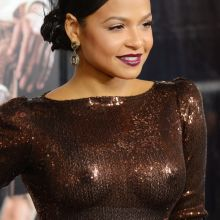 Christina Milian braless pokies in see through dress on Live By Night premiere 32x UHQ photos