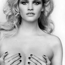 Lara Stone topless big boobs grabbing for V Magazine January 2017 2x HQ photos