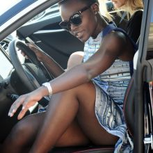 Lupita Nyong'o sexy leggy leaving the Moonshadows restaurant in Malibu 6x UHQ
