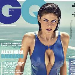Alexandra Daddario sexy swimsuit cleavage big boobs trying to pop out for GQ July-August 2017 8x HQ photos