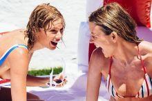 Taylor Swift, Karlie Kloss, Gigi Hadid, Cara Delevingne sexy Stars & Stripes swimwear HQ Instagram photos