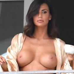 Claudia Galanti topless candids on the hotel balcony in Porto Cervo 68x HQ photos