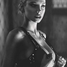 Charlotte Mckinney cleavage topless GQ UK magazine 2015 December 6x HQ scans