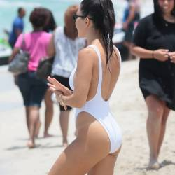 Kourtney Kardashian sexy pokies in wet white swimsuit candids on the beach in Miami 19x HQ photos