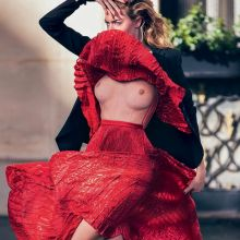 Martha Hunt see through dress for Marie Claire Italia topless 2014 December 13x HQ