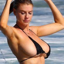 Charlotte McKinney wearing skimpy bikini  on the beach in Malibu 102x HQ photos