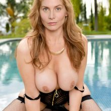 Elizabeth Mitchell from Crossing Lines topless near pool photo show big boobs 2x UHQ