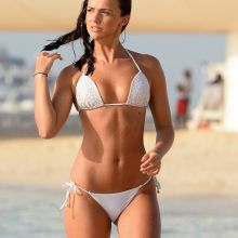 Lucy Mecklenburgh white bikini cameltoe on the beach in Dubai 24x HQ photos