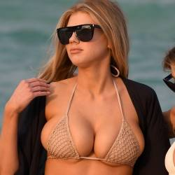 Charlotte McKinney, Brittany Welch big boobs trying to pop out from bikini cameltoe candids on the beach in Miami 169x HQ photos