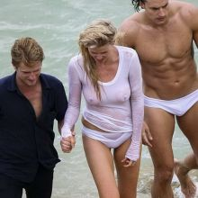 Lara Stone wet see through top on Vogue magazine photoshoot in Sydney 29x MixQ photos