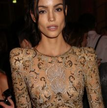 Sofia Resing braless in see through bodysuit on Gold Obsession party at Paris Fashion Week in France 8x UHQ photos