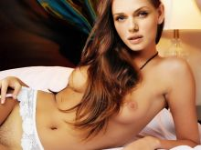 Tracy Spiridakos nude Playboy magazine celebrity cover on the bed naked photo shoot UHQ