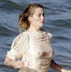 Ireland Baldwin topless boobs pop out see through on the beach in Malibu 66x HQ photos