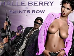 Halle Berry topless in Saints Row UHQ