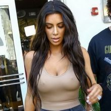 Kim Kardashian braless pokies in see through top out in Miami 12x HQ photos