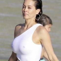 Brooke Burke see through swimsuit pokies candids on the beach in St. Barths 128x HQ photos