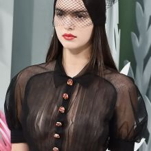 Kendall Jenner nice tits in see through top on Chanel Spring-Summer 2015 Fashion Show in Paris 11x UHQ