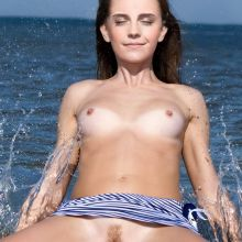 Emma Watson nude on the beach spread legs UHQ
